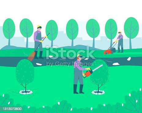 istock Gardening handyman cleaning the park 1313070600