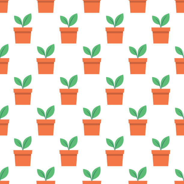 Gardening Icon Seamless Patterns, Potted Seedling vector art illustration