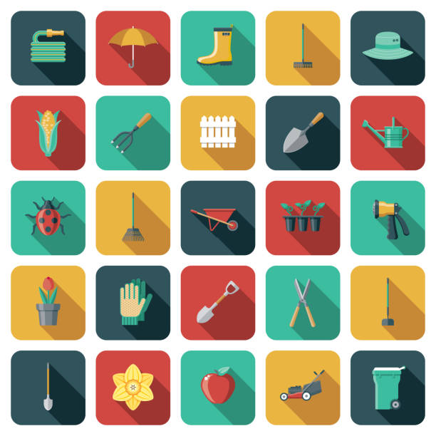 gardening icon set - composting stock illustrations