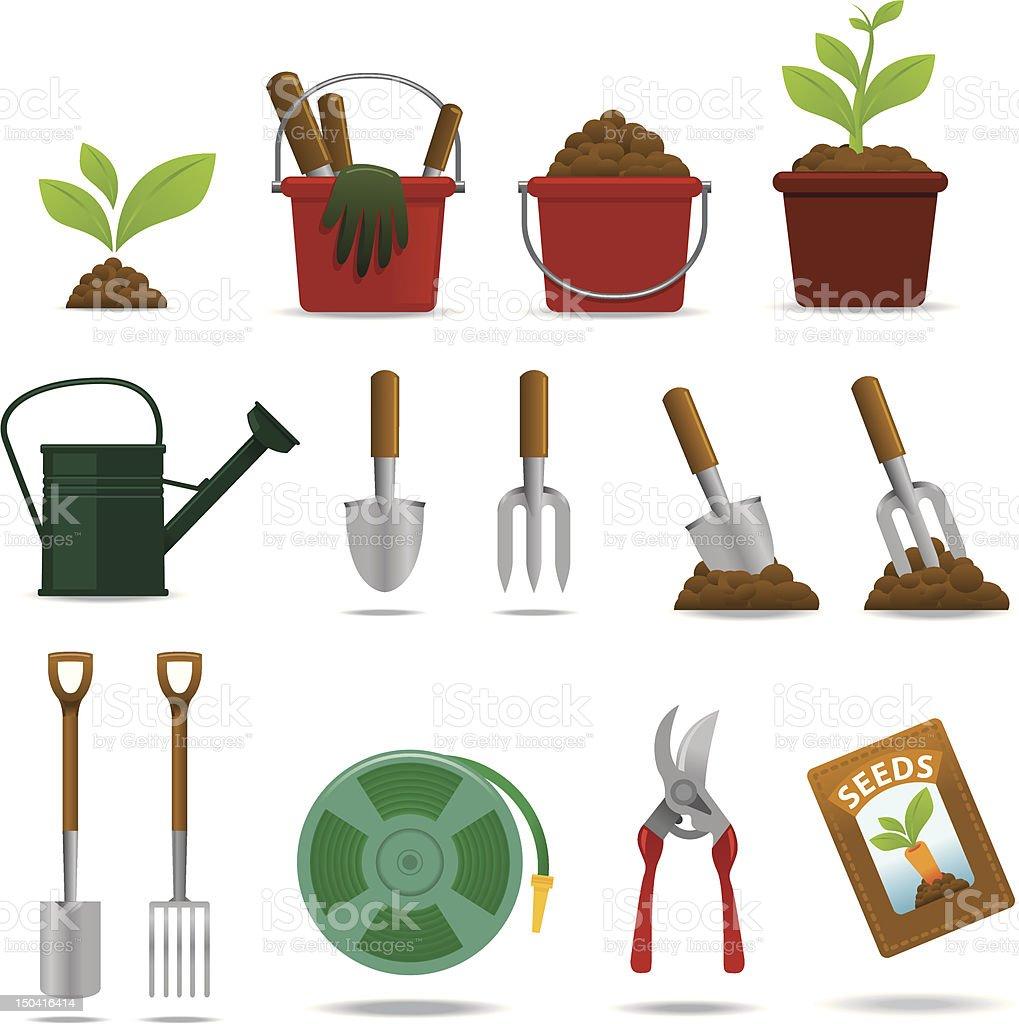 Gardening icon set vector art illustration