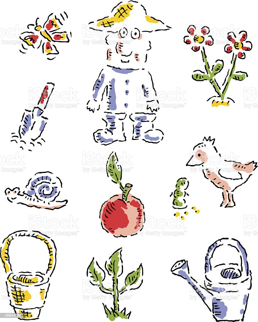 Gardening - icon set royalty-free stock vector art
