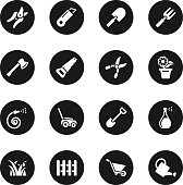 Gardening Icons Black Circle Series Vector EPS10 File.