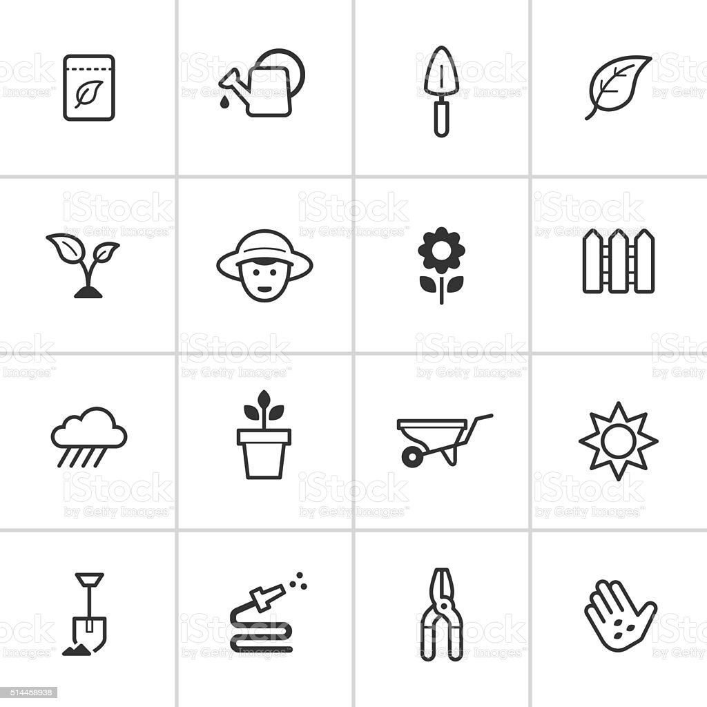 Gardening Icons — Inky Series vector art illustration