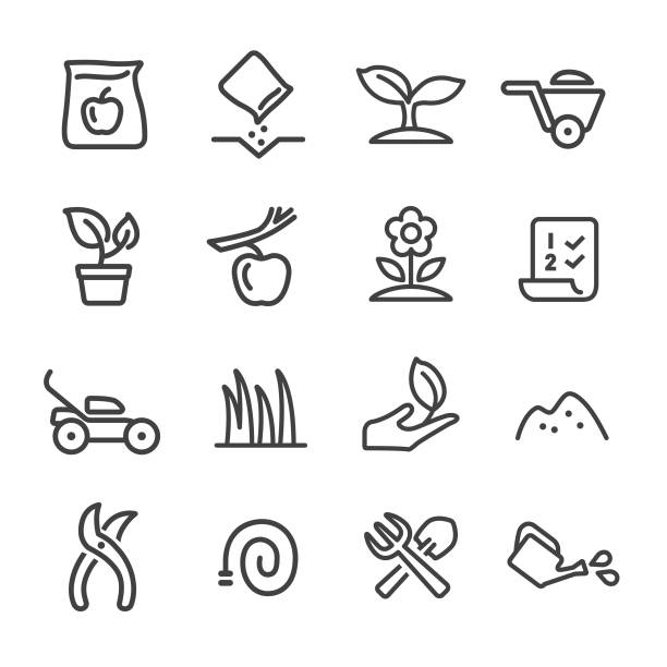 stockillustraties, clipart, cartoons en iconen met tuinieren icons - line serie - kruiwagen met gereedschap