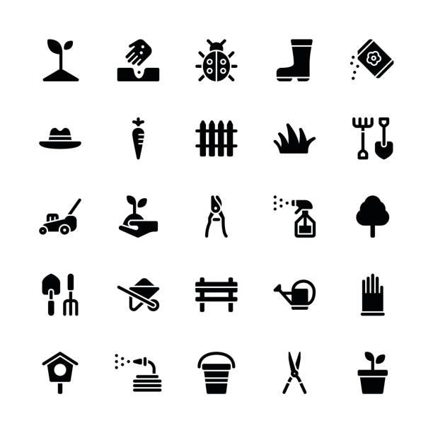 Icônes de jardinage - glyphe régulier - Illustration vectorielle