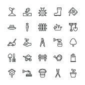 Gardening icons - Regular Line Vector EPS File.