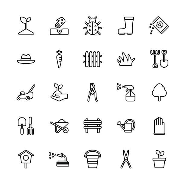 Icônes de jardinage - ligne régulière - Illustration vectorielle