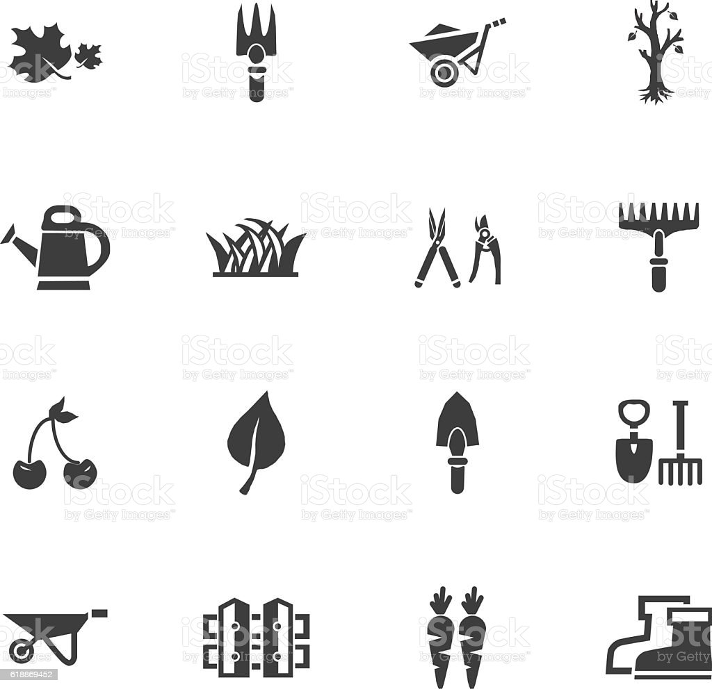 Gardening icons set vector art illustration
