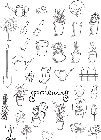 gardening icons vector collection