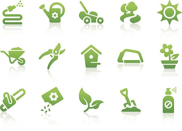 stockillustraties, clipart, cartoons en iconen met gardening icons - kruiwagen met gereedschap