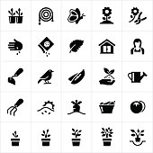 Icons symbolizing different aspects of gardening, including common gardening tools, vegetables, plants, trees, flowers and other gardening concepts.