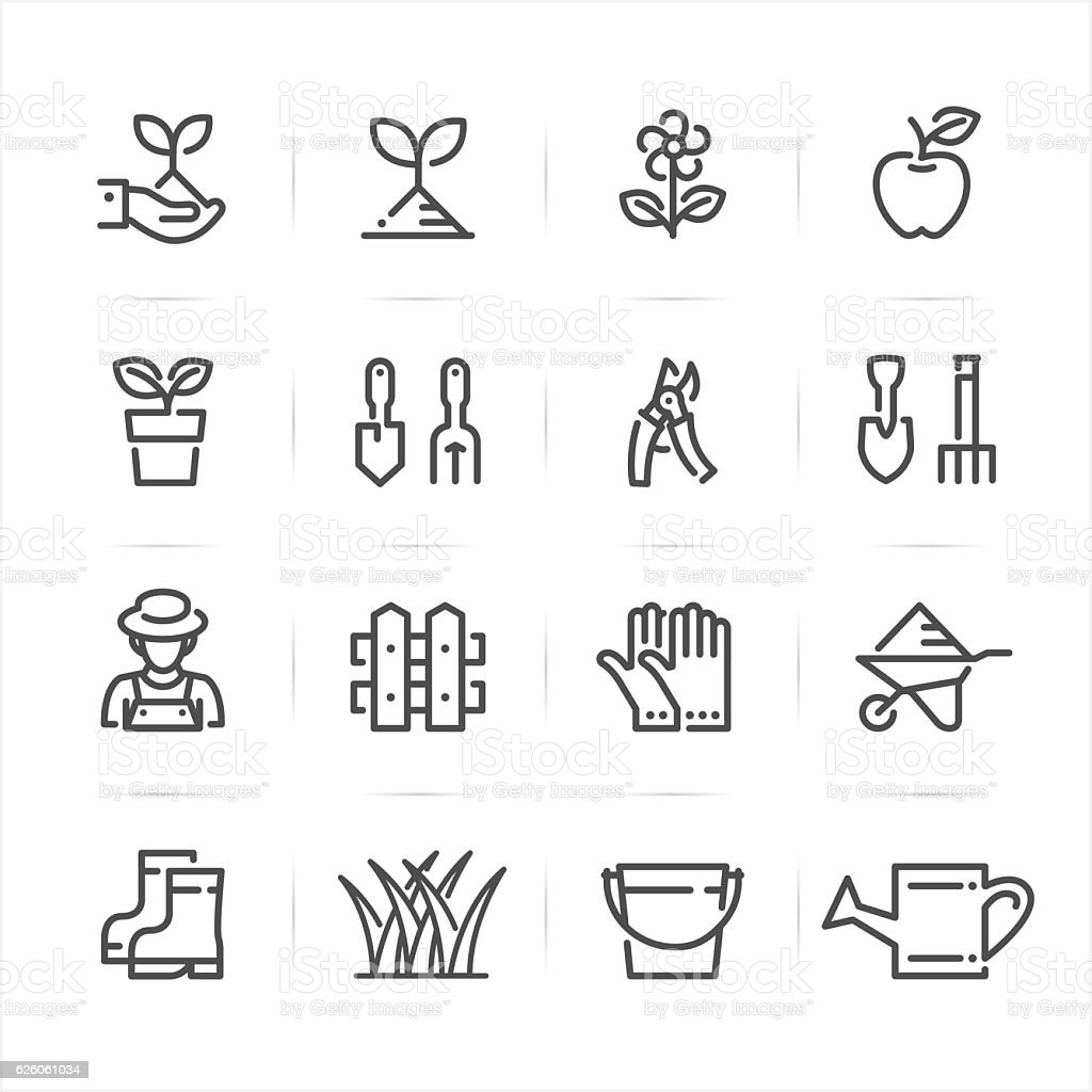 Gardening icons vector art illustration