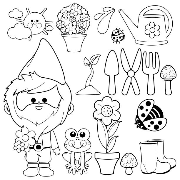 gardening illustration collection with garden gnome. vector black and white coloring book page - amphibians stock illustrations