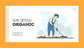 Gardening and Farming Landing Page Template. Man Gardener Character Rake Soil Care of Plants, Weeding Garden Bed. Farmer Growing Vegetable and Herbs, Farm Production. Linear Vector Illustration
