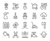 Gardening Light Line Icons Vector EPS File.