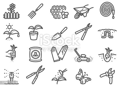 There is a set of icons about gardening and related tools/animals  in the style of Clip art.