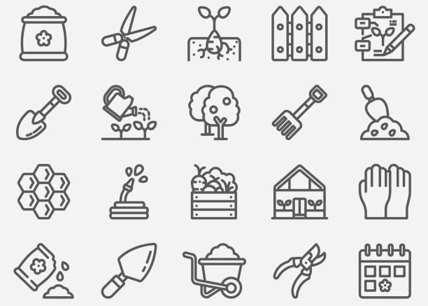 stockillustraties, clipart, cartoons en iconen met tuinieren lijn iconen - fruitboom