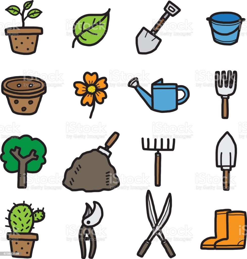 gardening objects, icons set royalty-free gardening objects icons set stock vector art & more images of agriculture
