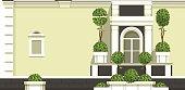 Vector illustration of a building facade, balcony with a window gardening