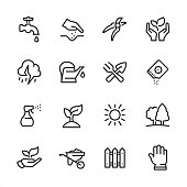16 line black on white icons / Set #46 / Gardening  Pixel Perfect Principle - all the icons are designed in 48x48pх square, outline stroke 2px.  First row of outline icons contains:  Faucet, Human hand seeding, Pruning Shears, Nature Care;  Second row contains:  Thunderstorm, Watering Can, Crossed Trowel and Gardening Fork, Seed Packet;  Third row contains:  Spray Bottle, Seedling, Sun, Public Park (Garden);   Fourth row contains:  Leaf in human hand, Wheelbarrow, Fence, Protective Glove.  Complete Inlinico collection - https://www.istockphoto.com/collaboration/boards/2MS6Qck-_UuiVTh288h3fQ