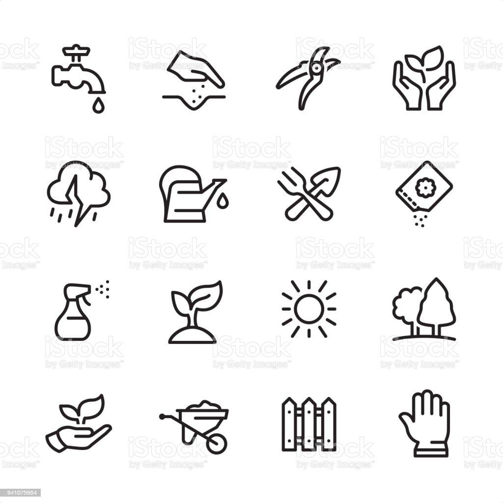Gardening - outline icon set vector art illustration