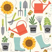 A colorful seamless pattern with gardening elements and tools