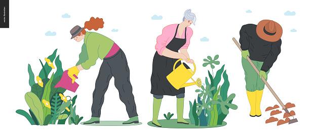Gardening people set, spring