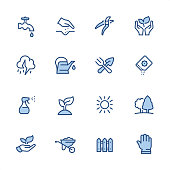16 indigo and blue Gardening icons set #34 Pixel perfect icon 48x48 pх, outline stroke 2 px.  First row of  icons contains: Faucet, Human hand seeding, Pruning Shears, Nature Care;  Second row contains:  Thunderstorm, Watering Can, Crossed Trowel and Gardening Fork, Seed Packet;  Third row contains:  Spray Bottle, Plant, Sun, Public Park (Garden);   Fourth row contains:  Leaf in human hand, Wheelbarrow, Fence, Protective Glove.  Complete Indigico collection - https://www.istockphoto.com/collaboration/boards/t5bVQfKvf0a-h6WHcFLuIg