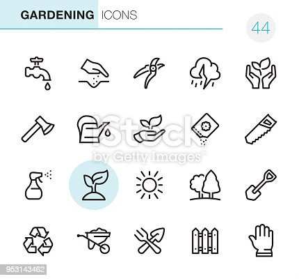20 Outline Style - Black line - Pixel Perfect icons / Gardening / Set #44 Icons are designed in 48x48pх square, outline stroke 2px.  First row of outline icons contains: Faucet, Human hand seeding, Pruning Shears, Thunderstorm, Nature Care;  Second row contains: Axe icon, Watering Can, Leaf in human hand, Seed Packet, Hand Saw;  Third row contains: Spray bottle, Plant, Sun, Tree, Shovel icon;   Fourth row contains: Recycling Symbol, Wheelbarrow, Crossed Trowel and Gardening Fork, Fence, Protective Glove.  Complete Primico collection - https://www.istockphoto.com/collaboration/boards/NQPVdXl6m0W6Zy5mWYkSyw