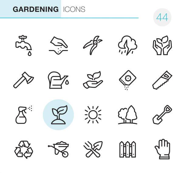 Gardening - Pixel Perfect icons vector art illustration