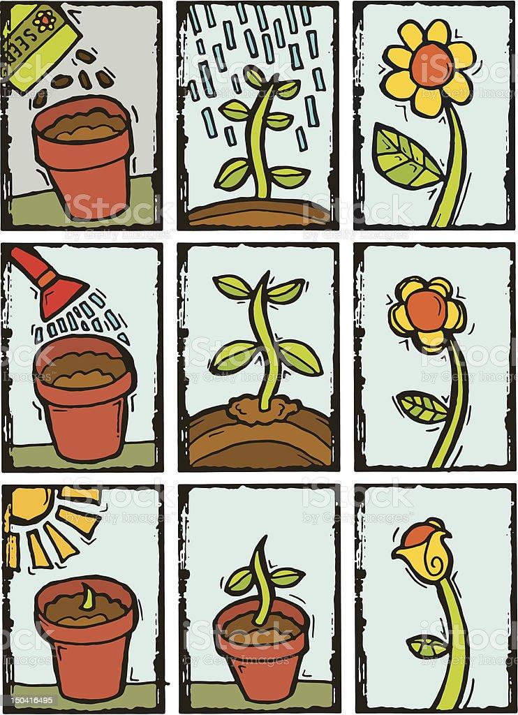 Gardening print icons royalty-free stock vector art