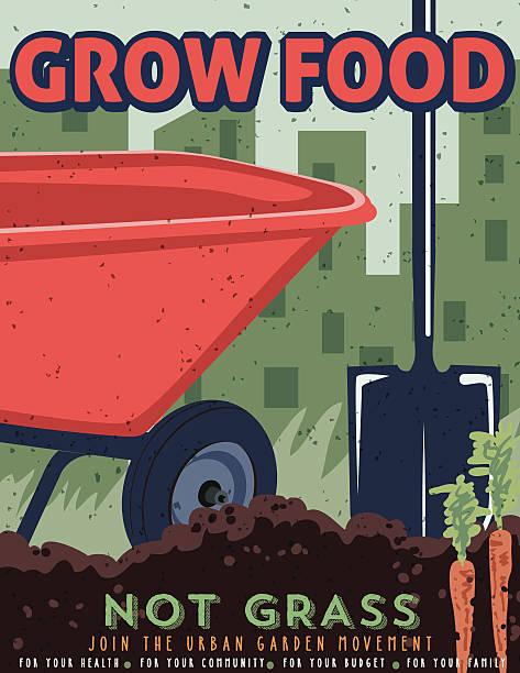 ilustrações, clipart, desenhos animados e ícones de cartaz de propaganda de jardinagem - horta