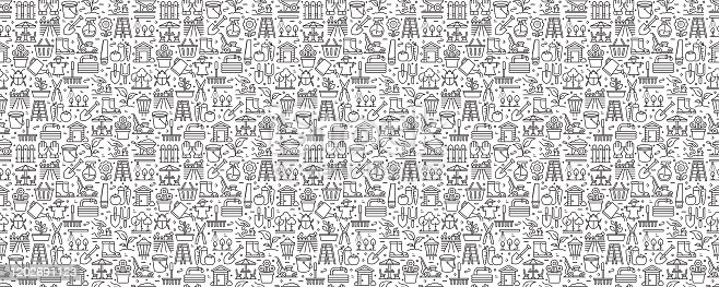 istock Gardening Related Seamless Pattern and Background with Line Icons 1202691123