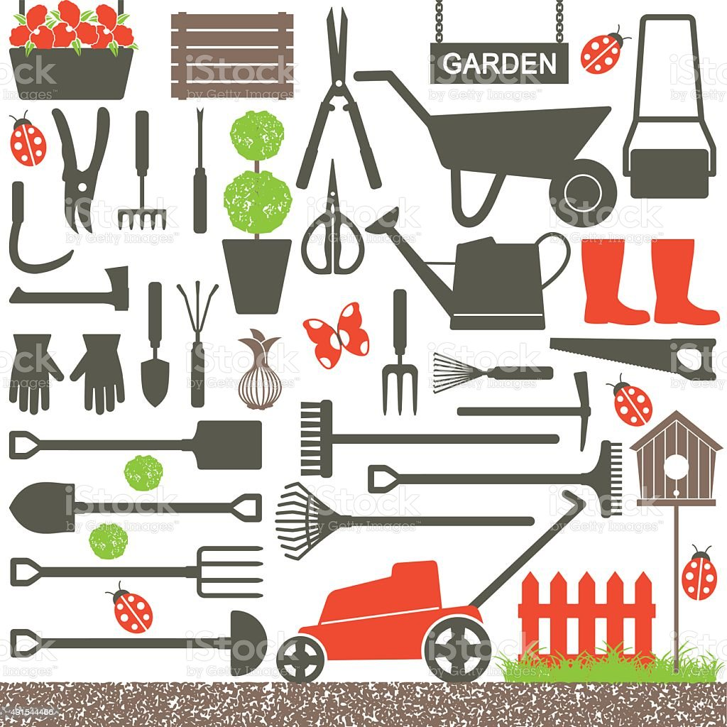Gardening related vector icons 6 vector art illustration