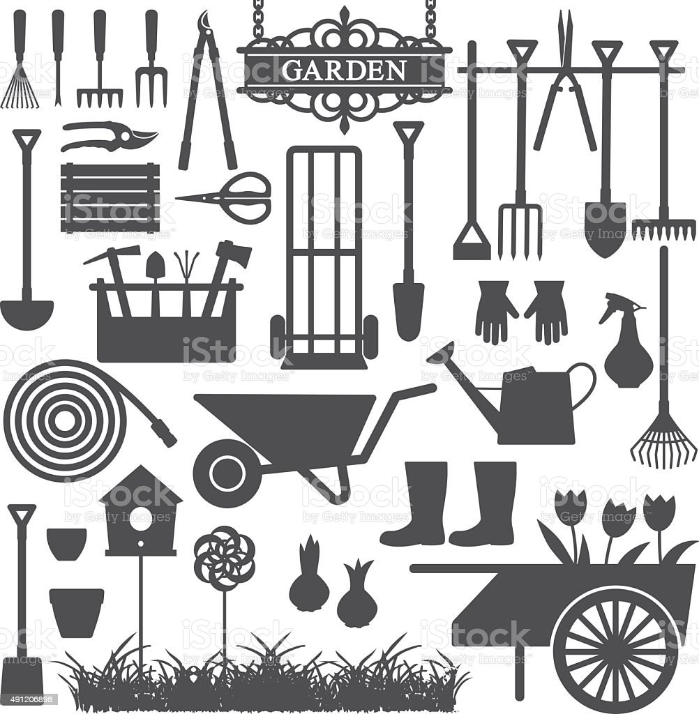 Gardening related vector icons 8 vector art illustration