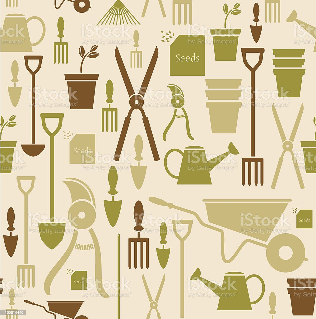 Gardening Repeat Pattern vector art illustration