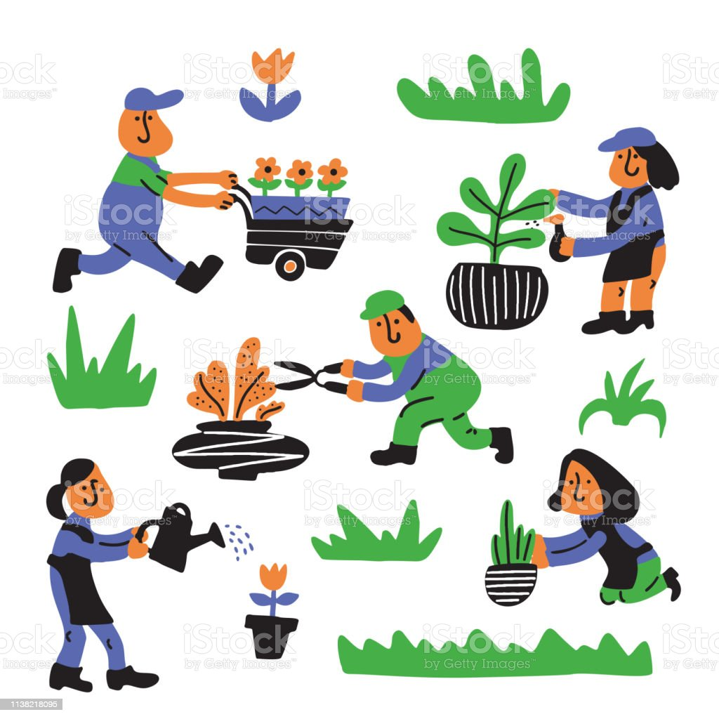 Gardening Service Illustration Of People Working In The Garden Cartoon Characters Stock Illustration Download Image Now Istock
