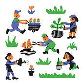 Gardening service. Illustration of people, working in the garden. Cartoon characters. Vector