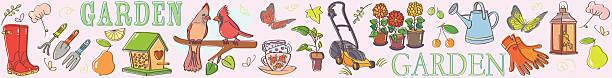 Gardening set illustration banner horizontal vector art illustration