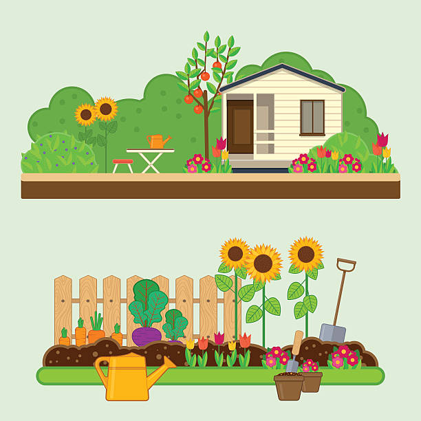 stockillustraties, clipart, cartoons en iconen met gardening set. illustrations with garden, cottage and garden tools - garden house
