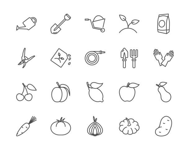 Ensemble de jardinage de vecteur icônes style de contour - Illustration vectorielle