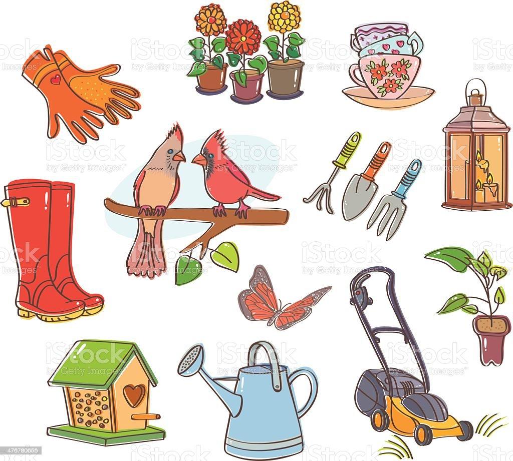Gardening set vector art illustration
