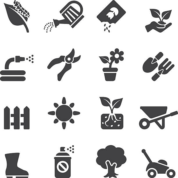 Gardening Silhouette icons | EPS10 Gardening Silhouette icons  hobbies stock illustrations