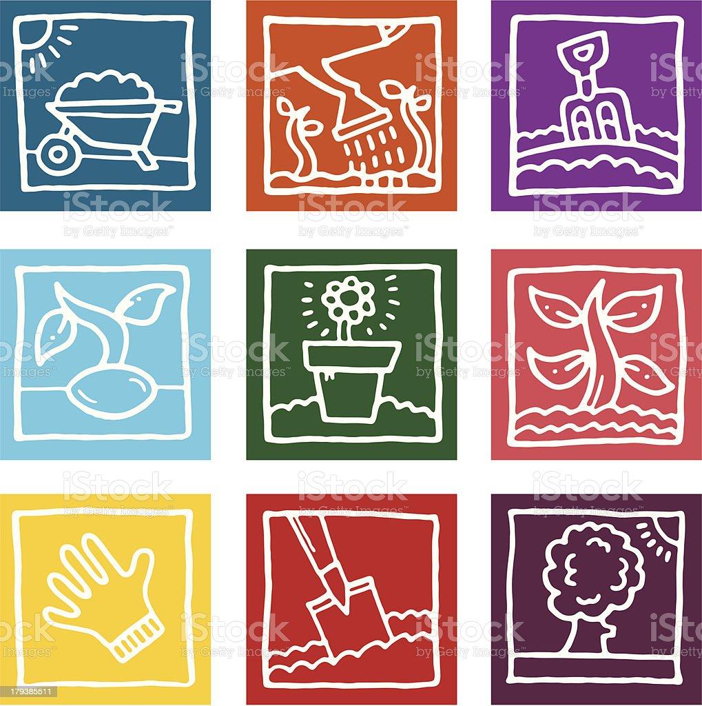 Gardening sketch block icons set royalty-free stock vector art
