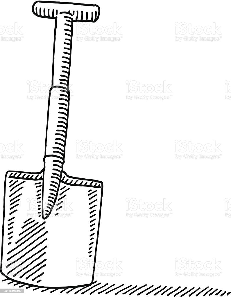 Gardening spade drawing illustration