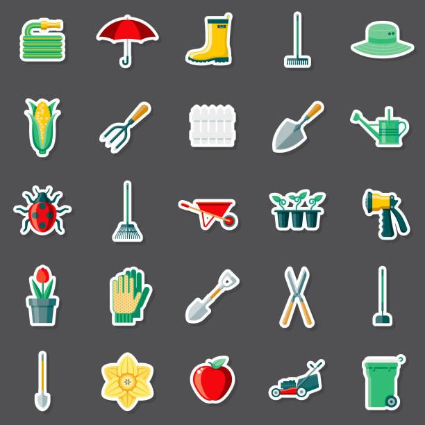 illustrazioni stock, clip art, cartoni animati e icone di tendenza di gardening sticker set - composting