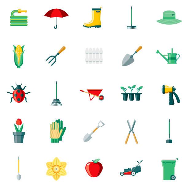 gardening supplies flat design icon set - composting stock illustrations