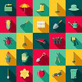 A set of flat design styled gardening supplies icons with a long side shadow. Color swatches are global so it's easy to edit and change the colors.