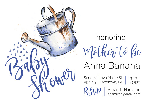 Gardening Themed Baby Shower Watercolor and Ink Invitation Design