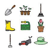 Gardening Thin Line Icon Set